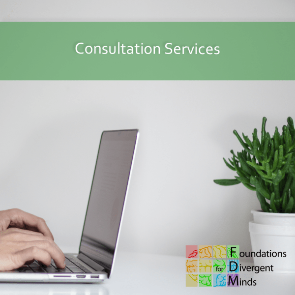 """Picture of an open laptop on a table with a plant and white hands typing on the computer. On the top is a longer semi-opaque light green rectangle that says """"Consultation Services"""". In the bottom right corner is the Foundations for Divergent Minds logo."""