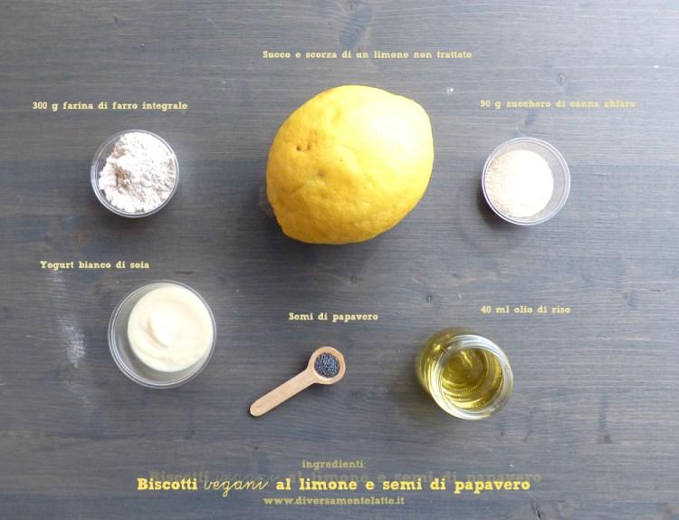 ingredienti biscotti vegani al limone e semi di papavero