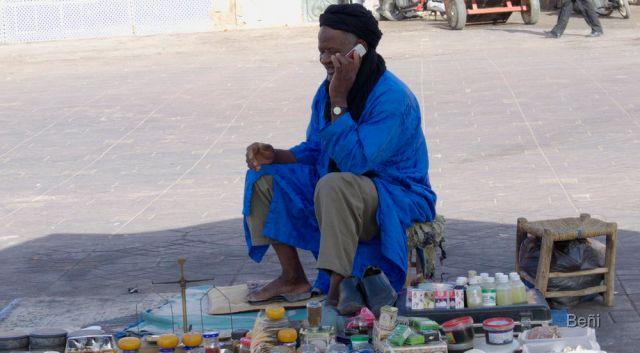 Vendedor en la Plaza de Jamaa El Fna en Marrakech