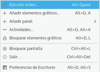 KDE Plasma 5, menú escritorio