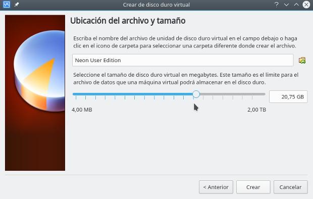 instalar gnu/linux con virtualbox, ubicacion del archivo y tamano