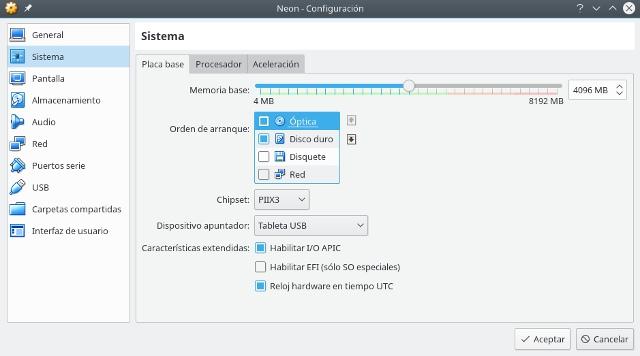 configurar virtualbox, sistema