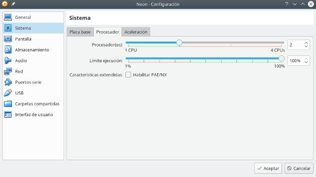 configurar virtualbox, sistema, procesador