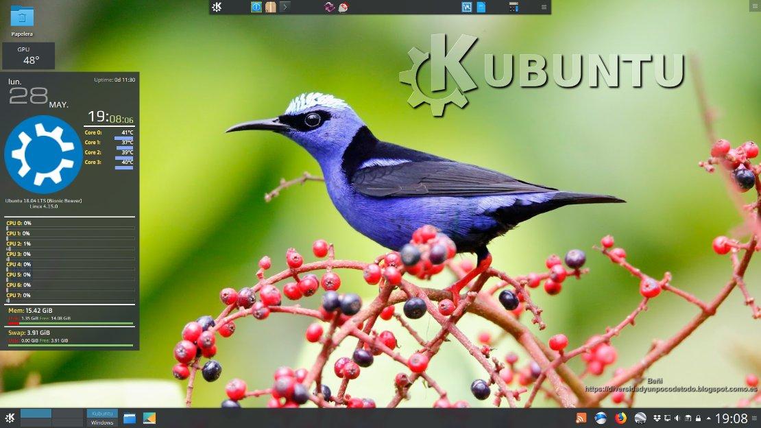 Escritorio de kubuntu 18.04 LTS