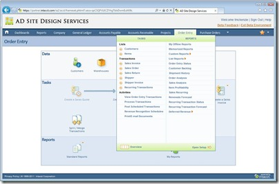 Intacct UI 2 - Graphical Map with Open Menu Tray