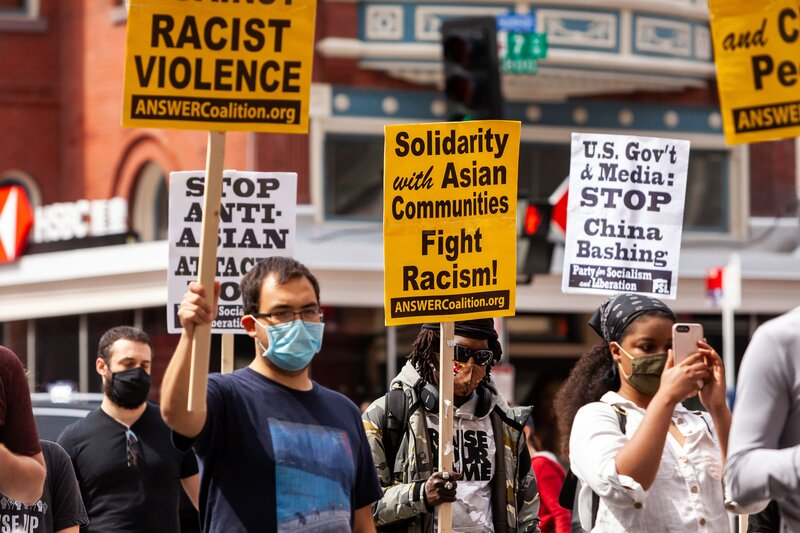 protestor against anti-Asian violence