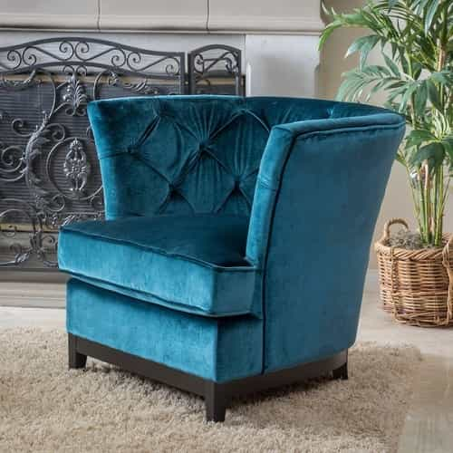 Teal Living Room Chair  Princeville Tufted Fabric Chair