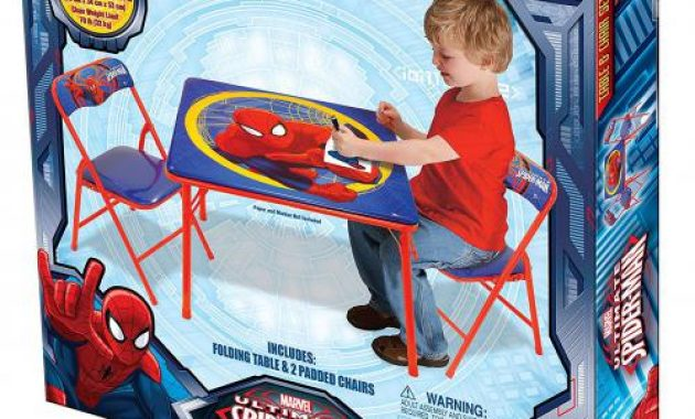 spiderman table and chairs chaise chair for living room bedroom furniture activity set review