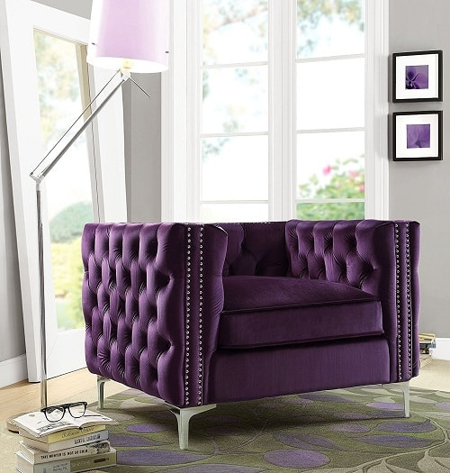 tufted nailhead chair unfinished childs rocking best selling luxurious purple accent chairs living room on amazon
