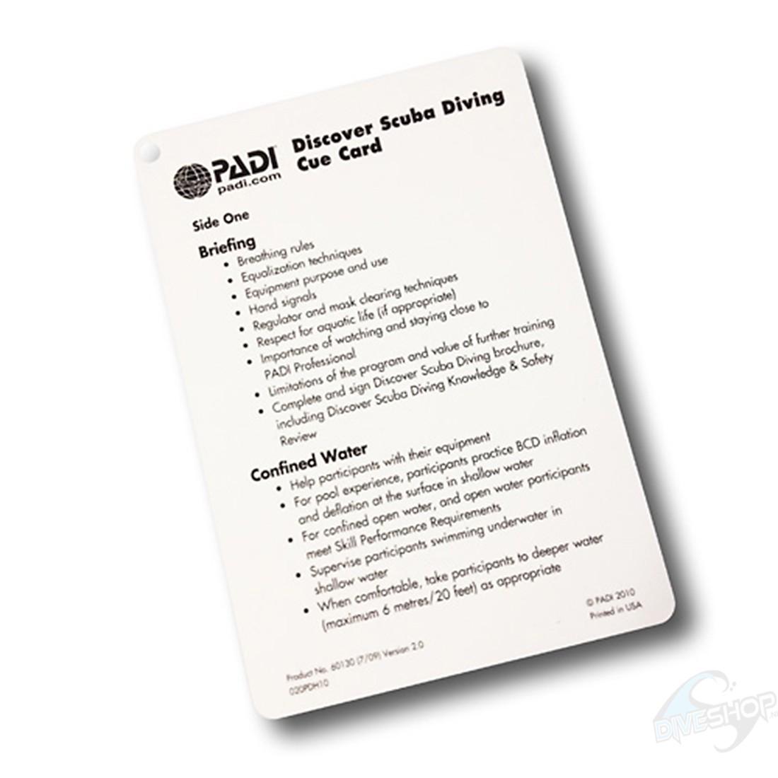 Cue card DSD PADI