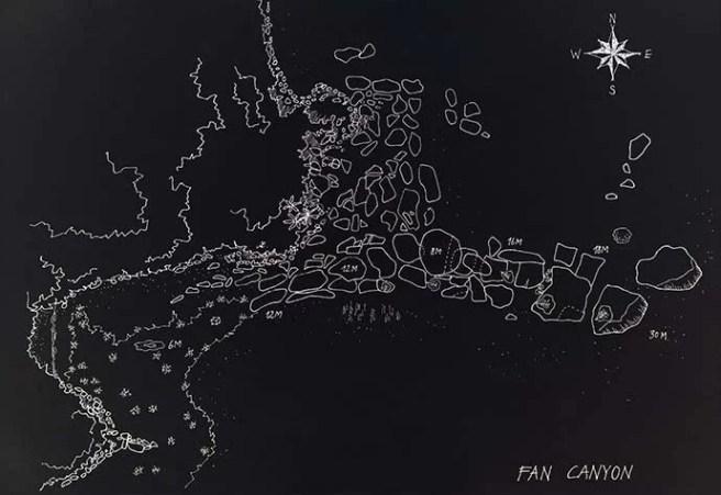 Fan Canyon Dive site map