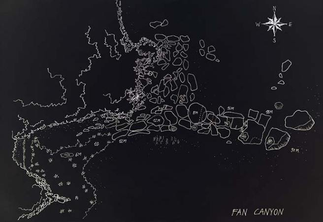 Fan Canyon Dive site map