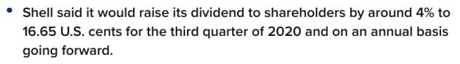 Shell raises dividend 4%