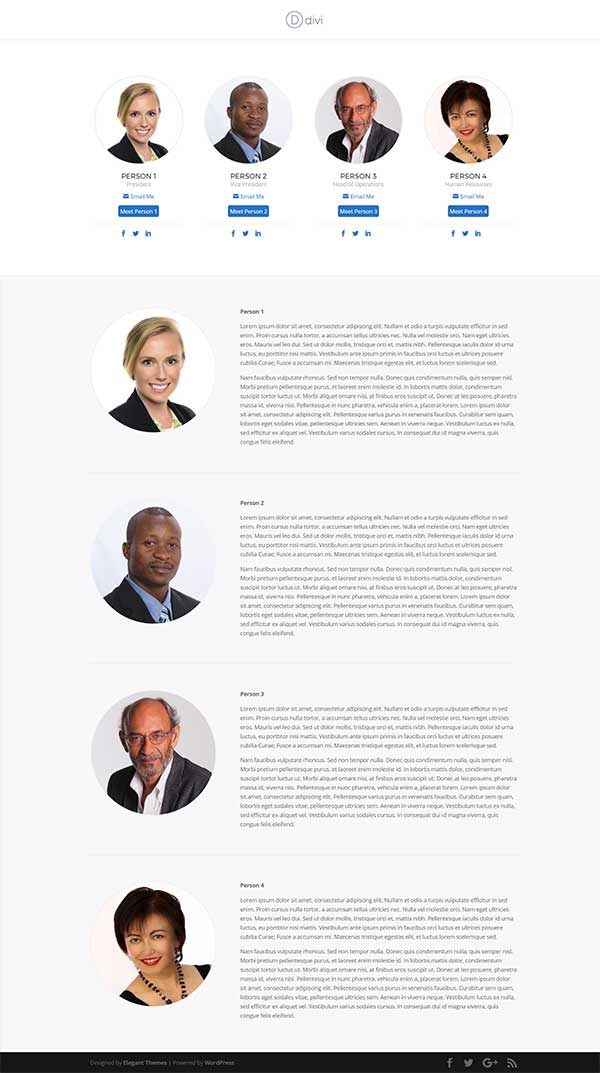 A 1 Page Divi Layout For Staff Bio Page Released By Josh Hall