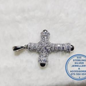 925 sterling Silver Pendant - Cubic Zirconia detailed statement cross pendant - showstopper Price per 1 pendant Price excludes chain 40mm top to bottom diameter