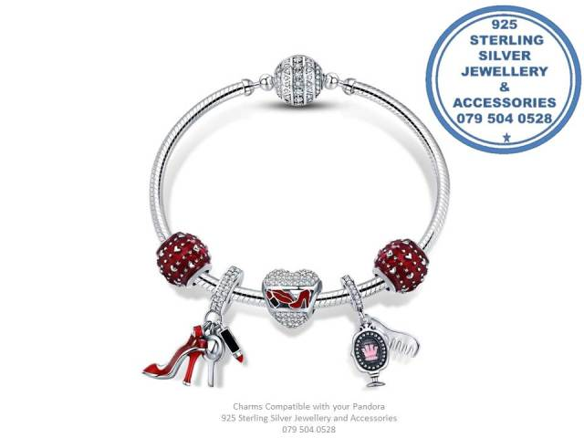 Glamour Trio 925 Sterling Silver Tripple Dangle Diva Woman Red Heels , Lipstick Charm. Pandora Compatible