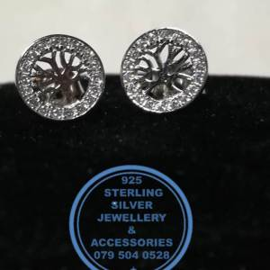 925 Sterling Silver Earring - Sterling Silver Tree Of Life Cubic Detail Stud Earrings - 1 pair Prices Excludes National delivery to your door at a nominal fee.