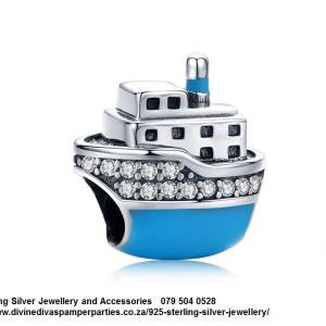 925 Sterling Silver Cubic Cz detail with Enamel Cruise Ship Travel Charm. Pandora Compatible