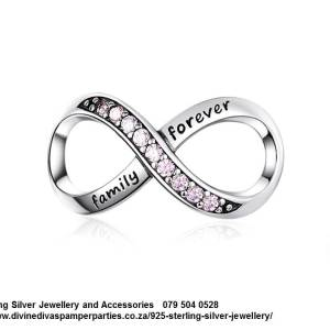925 Sterling Silver Light Pink Large Family Forever Infinity Cz Cubic Detail Charm. Pandora Compatible