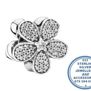"""""""925 Sterling Silver Large Cubic CZ Daisy Pandora Compatible Bead Charm"""""""