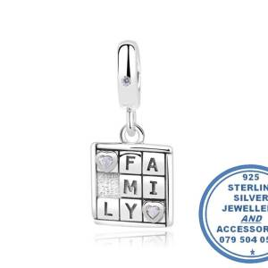 """""""925 Sterling Silver Family Game Dangle Charm. Pandora Compatible"""""""