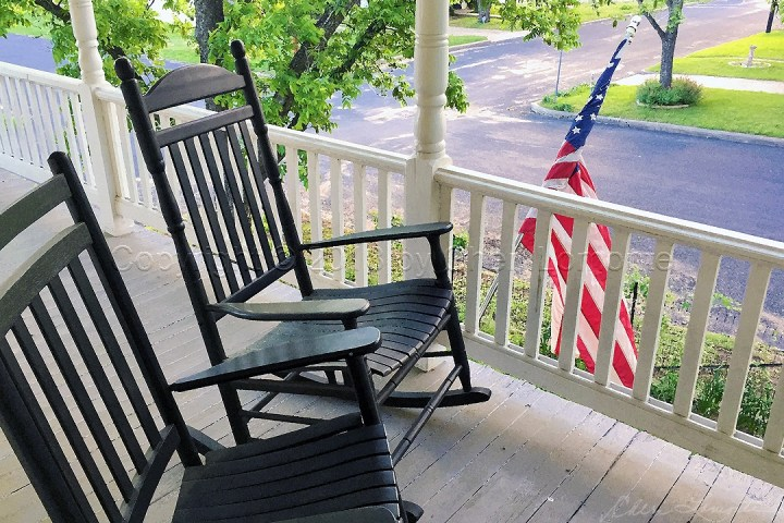 On the Porch - Rocking Chairs and American Flag