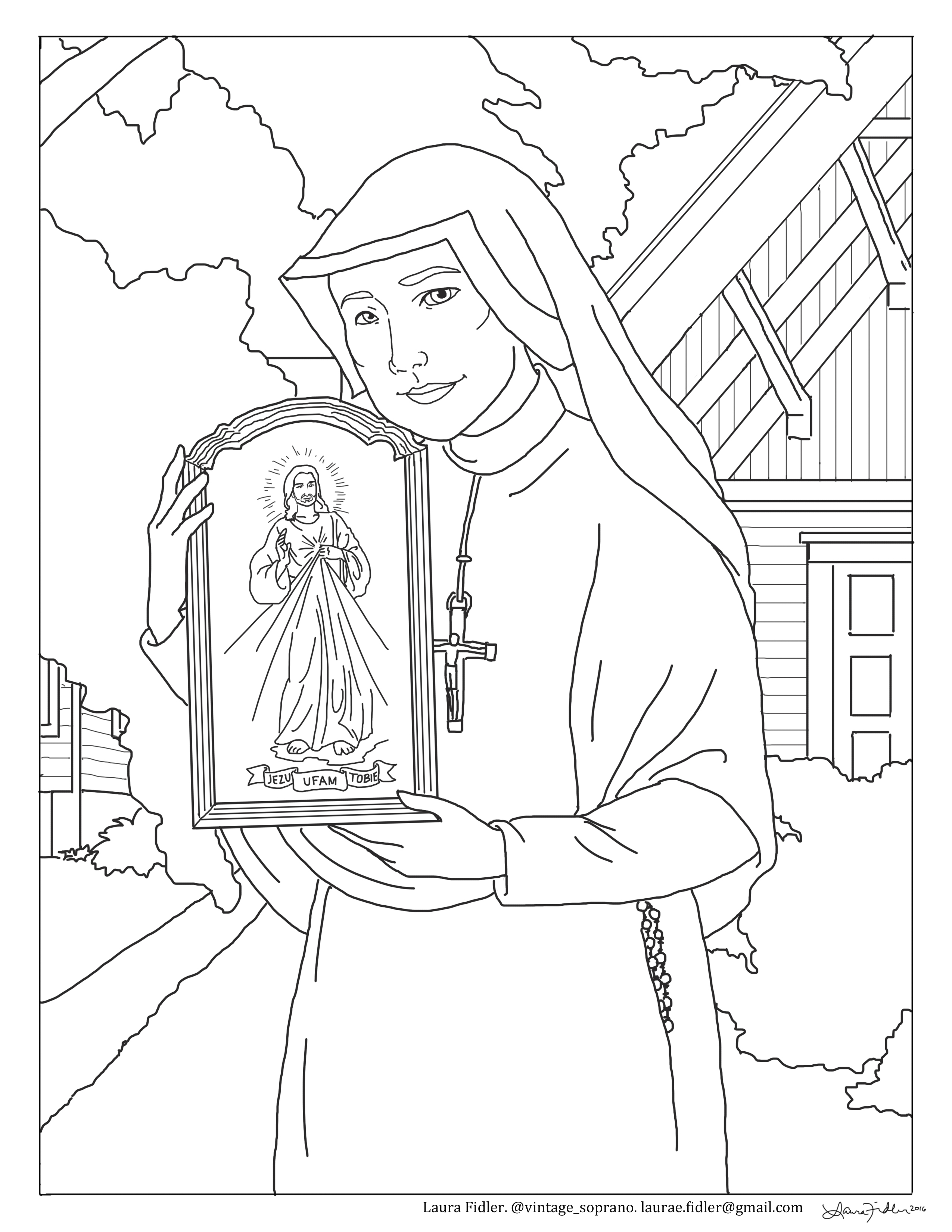 Free St Faustina Divine Mercy Coloring Page