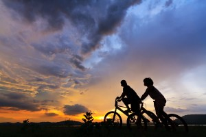 Beautiful Couple on bicycles