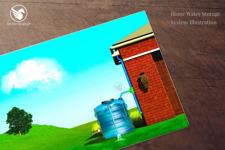 Water Storage System - digital raster illustration