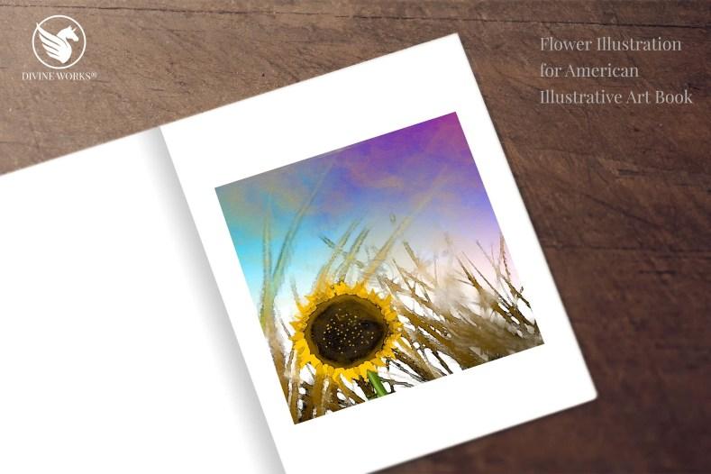 Sunflower digital raster illustration