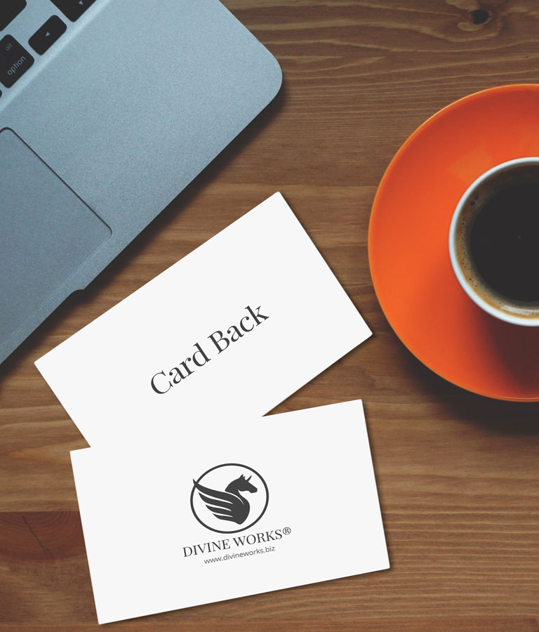 Business Cards With Coffee Cup by Divine Works