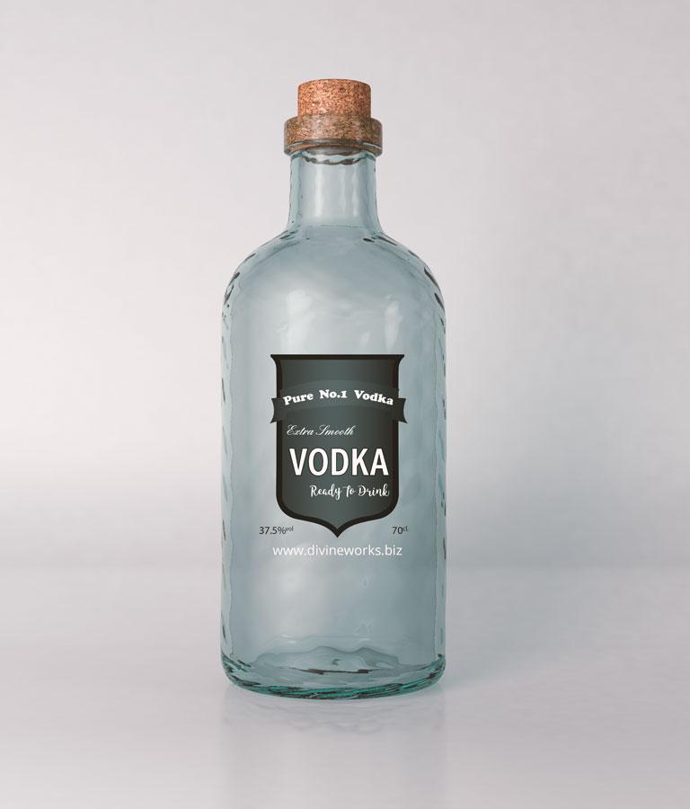 Free Vodka Glass Bottle Mockup by Divine Works