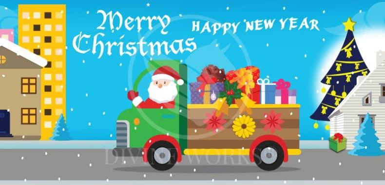 Free Adobe Illustrator Christmas Banner Vector Illustration by Divine Works