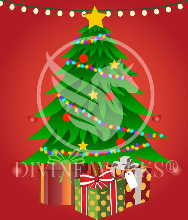 Free Adobe Illustrator Christmas Tree With Gifts Vector Illustration by Divine Works