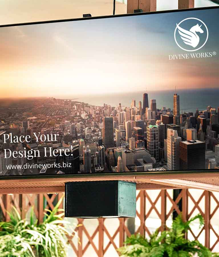Free Screen On Wall Mockup by Divine Works
