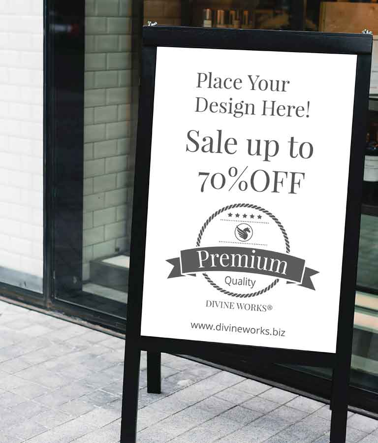 Free Shop Outside Board Mockup by Divine Works