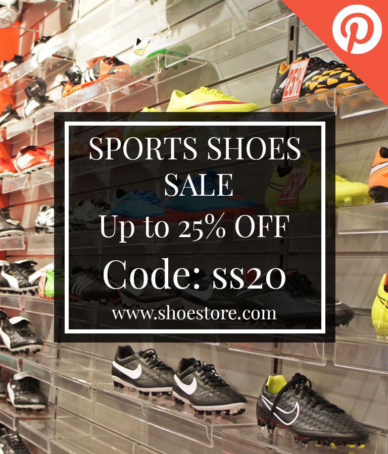 Free Sports Shoe Pinterest Post Templates by Divine Works
