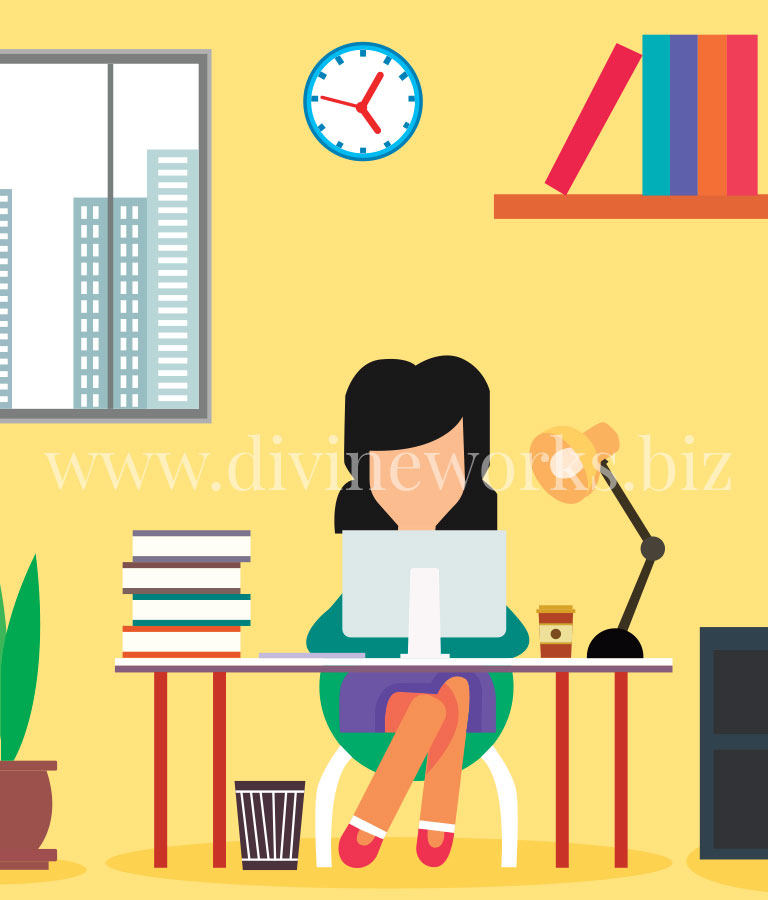 Free Adobe Illustrator Woman Working Vector Illustration by Divine Works