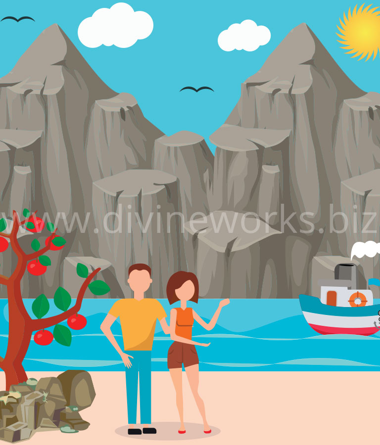 Free Adobe Illustrator Couple On Beach Vector Illustration by Divine Works