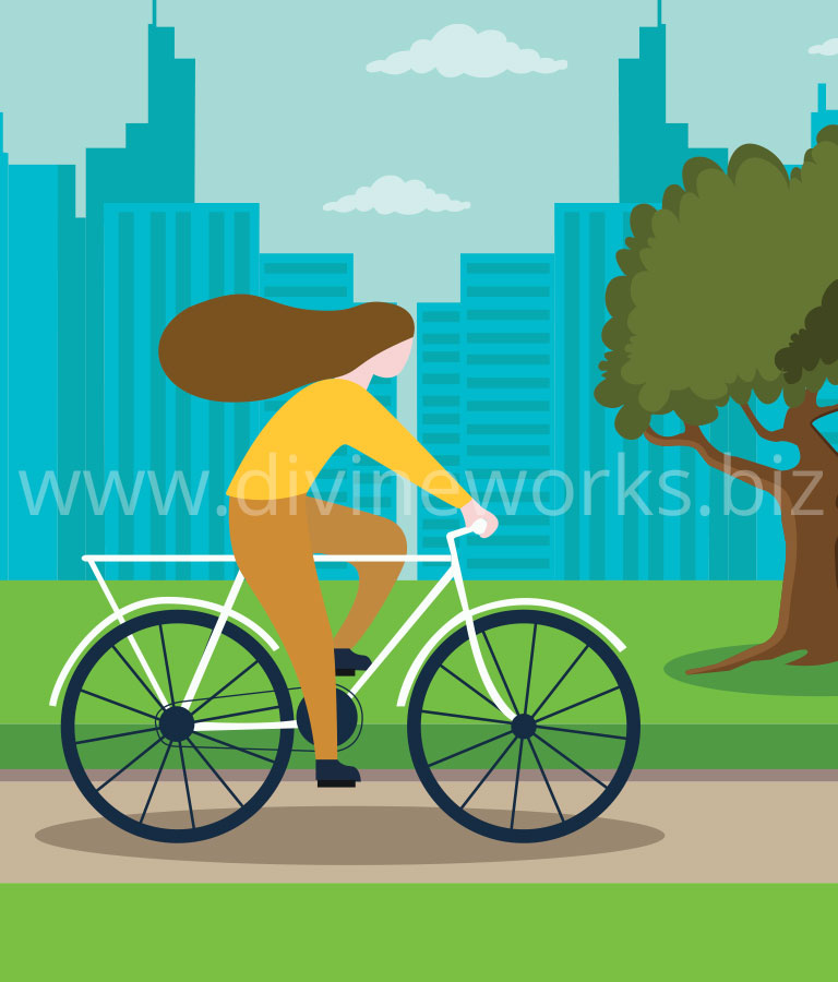 Download Free Cycling Girl Vector Art