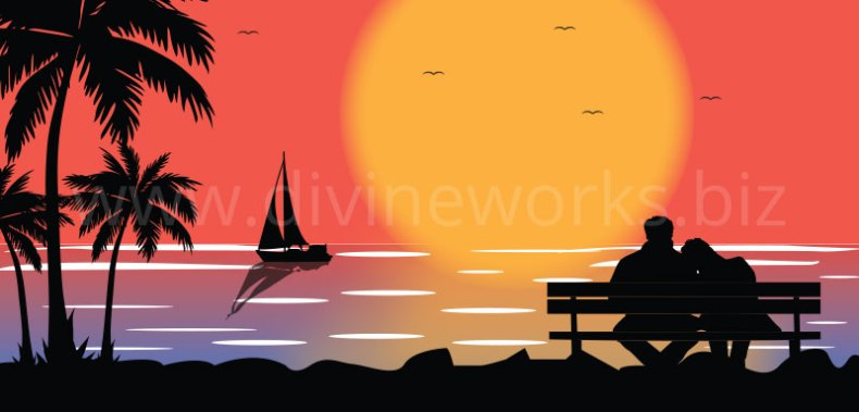 Download Beach Scene Vector Illustration by Divine Works