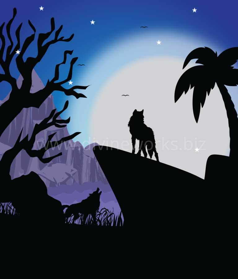 Night Wolfs Vector illustration