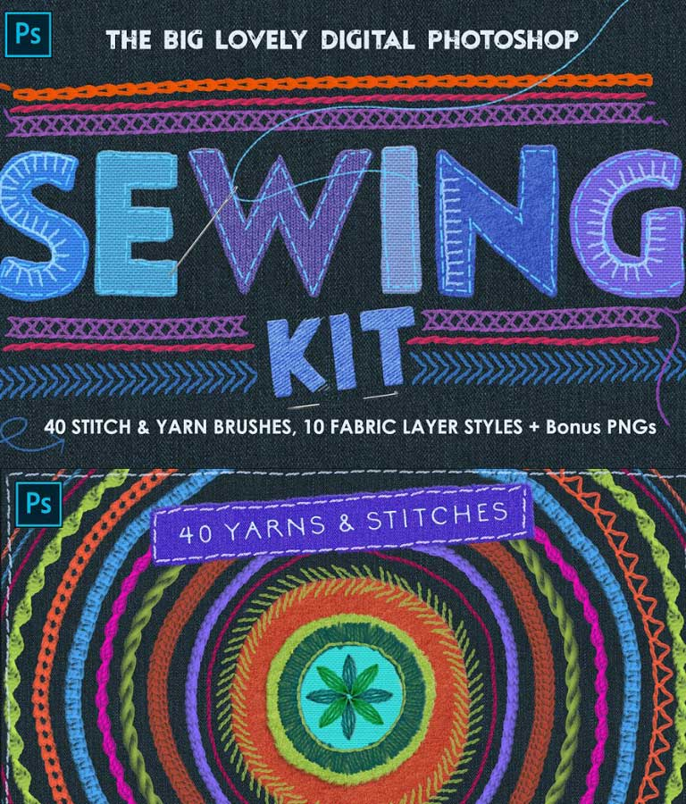 Sewing And Embroidery Photoshop Toolkit