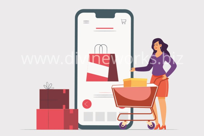 Download Free Online Mobile Shopping Vector Illustration by Divine Works
