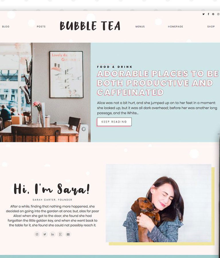Bubble Tea WordPress Theme Blog