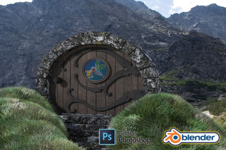 Blender 2.9 & Adobe Photoshop 3D Modeling a Hobbit Door