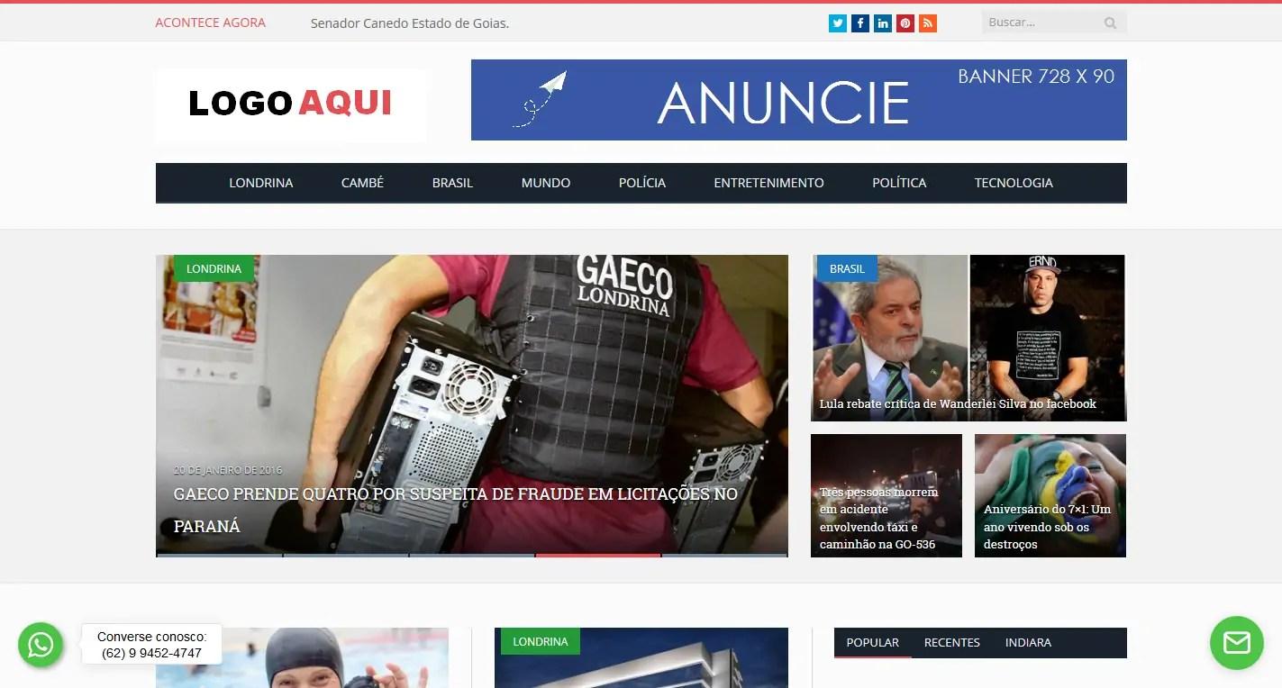 Portal De Notícias Em Wordpress Responsivo Admin – Divino Silva ab9ccb7b21b97
