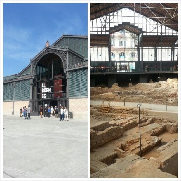Vistas de la entrada del Mercat del Born y los vestigios de 1714
