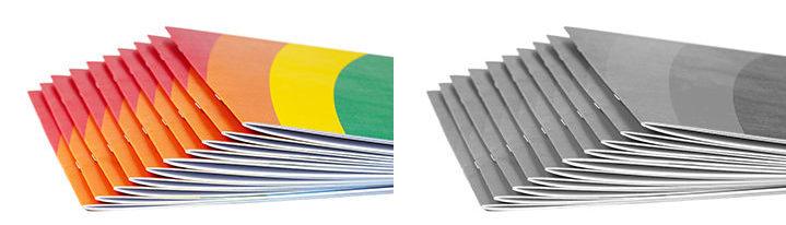 Brochures en couleur et en noir et blanc