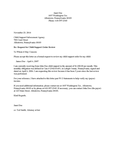 Sample Letter Of Agreement To Pay Child Support | Docoments Ojazlink